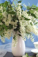 White flowers, bouquet, vase, tea, cup