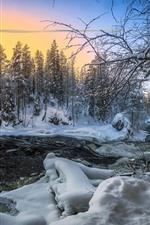Winter, snow, river, house, trees, dusk