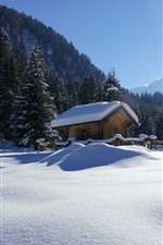 Preview iPhone wallpaper Winter, thick snow, trees, house, mountains, sun rays