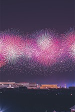 Preview iPhone wallpaper 70th Birthday of China, Beautiful fireworks, Beijing, China