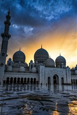 Abu Dhabi, Grande Mesquita Sheikh Zayed, Emirados Árabes Unidos, Anoitecer