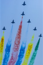 Aircraft, sky, flight, colorful smoke, China, Beijing