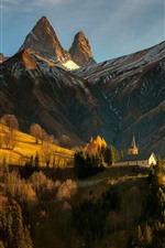 Preview iPhone wallpaper Alps, France, mountains, houses, trees, sun rays, slope, autumn