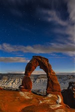 Preview iPhone wallpaper Arches National Park, rock arch, starry, dusk, USA