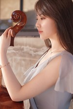 Preview iPhone wallpaper Asian girl, guitar, music