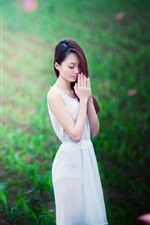 Preview iPhone wallpaper Asian girl, long hair, wish, green field
