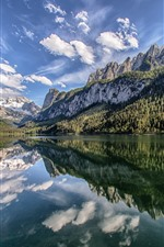 Preview iPhone wallpaper Austria, Lake Gosau, Alps, mountains, water reflection