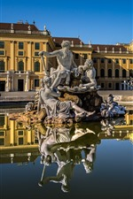 Preview iPhone wallpaper Austria, Vienna, Schonbrunn Palace, statue, water