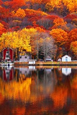 Preview iPhone wallpaper Autumn, lake, trees, houses, village, beautiful scenery