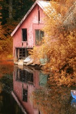 Preview iPhone wallpaper Autumn, trees, hut, boats, lake