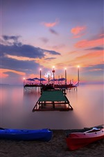 Preview iPhone wallpaper Beach, dock, sea, night, lights, boats