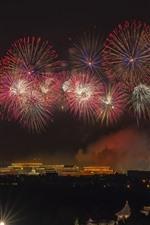 iPhone壁紙のプレビュー 美しい花火、北京、中国、夜、2019年10月1日