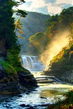 Preview iPhone wallpaper Beautiful nature scenery, waterfall, trees, sun rays