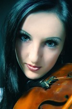 Preview iPhone wallpaper Black hair girl play violin, music