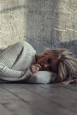 Preview iPhone wallpaper Blonde girl, sleep on floor