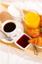 Café da manhã, café, croissants, leite, morango, suco de laranja