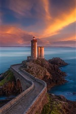 Preview iPhone wallpaper Brittany, France, lighthouse, bridge, sea, clouds, sunset