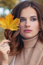 Preview iPhone wallpaper Brown hair girl, maple leaf