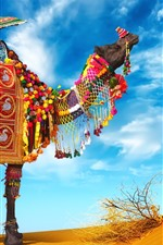 Preview iPhone wallpaper Camel, umbrella, colorful decoration, desert
