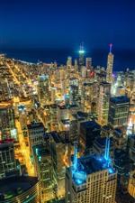 iPhone обои Чикаго, город ночью, вид сверху, небоскребы, огни, море, США