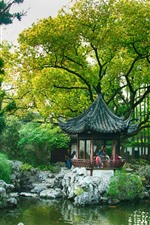 Preview iPhone wallpaper China, gazebo, park, trees, pond, willow