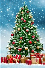 Árvore de Natal, presentes, bolas, flocos de neve, neve, brilho