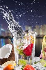 Preview iPhone wallpaper Cocktail, coconut, strawberry, lemon, splash