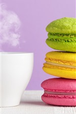 Preview iPhone wallpaper Colorful macaron, white cup, coffee, steam