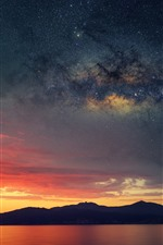 Corsica, France, mountains, sea, starry, sky, clouds, sunset