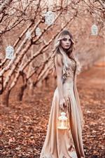iPhone обои Кудрявая девушка, фонари, деревья