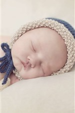 Preview iPhone wallpaper Cute baby sleeping, sweater cap