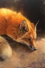 Preview iPhone wallpaper Cute fox, art picture