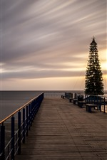 Preview iPhone wallpaper Dock, bridge, Christmas tree, sea, sunset