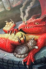 Preview iPhone wallpaper Dragon and cats, art picture