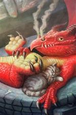 iPhone壁紙のプレビュー ドラゴンと猫、アート写真