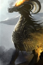 Preview iPhone wallpaper Dragon, horns, fire, art picture