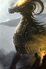 Dragon, horns, fire, art picture