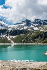 Emerald Lake, mountain, clouds