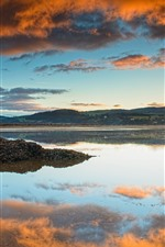 England, North Wales, river, sunset, clouds