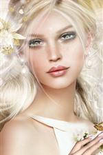 Menina loira fantasia, borboleta, flores