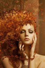 Fantasy girl, autumn, leaves, hair