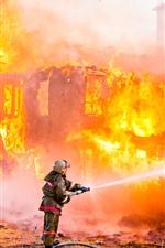 Preview iPhone wallpaper Firefighter, fire