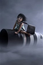 Preview iPhone wallpaper Flight lens, little girl, creative picture