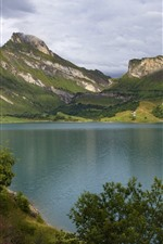 Preview iPhone wallpaper France, Alps, mountains, lake, trees, clouds
