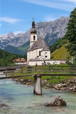 Preview iPhone wallpaper Germany, Bavaria, Bayern, Church, river, bridge, trees