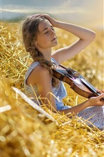 Preview iPhone wallpaper Girl, braids, grass, violin, summer, sun rays