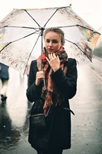 Preview iPhone wallpaper Girl in the rain, umbrella, street