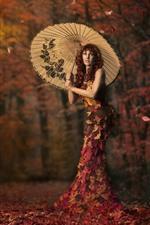 Menina, guarda-chuva, bordos deixa a saia, árvores