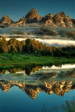 Preview iPhone wallpaper Grand Teton National Park, lake, mountains, water reflection, beautiful scenery