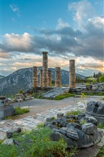 Preview iPhone wallpaper Greece, Delphi, ruins, column